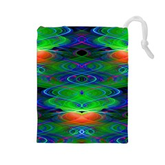 Neon Night Dance Party Drawstring Pouches (Large)