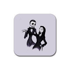 Jack & Sally Addams  Rubber Square Coaster (4 Pack)