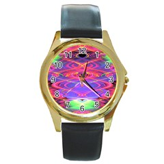 Neon Night Dance Party Pink Purple Round Gold Metal Watch