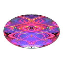 Neon Night Dance Party Pink Purple Oval Magnet