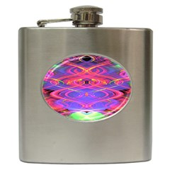 Neon Night Dance Party Pink Purple Hip Flask (6 oz)