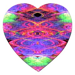 Neon Night Dance Party Pink Purple Jigsaw Puzzle (Heart)