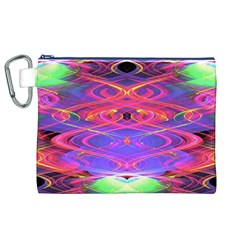 Neon Night Dance Party Pink Purple Canvas Cosmetic Bag (xl)