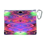 Neon Night Dance Party Pink Purple Canvas Cosmetic Bag (XL)  Back