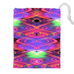 Neon Night Dance Party Pink Purple Drawstring Pouches (XXL)