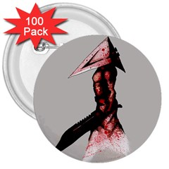 Pyramid Head Drippy 3  Buttons (100 pack)