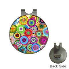 Psychedelic Flowers Hat Clip with Golf Ball Marker