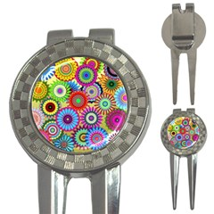 Psychedelic Flowers Golf Pitchfork & Ball Marker