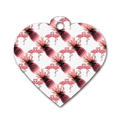 Flamingo Pineapple Tropical Pink Pattern Dog Tag Heart (One Side)
