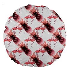 Flamingo Pineapple Tropical Pink Pattern Large 18  Premium Round Cushions