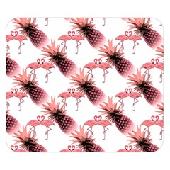 Flamingo Pineapple Tropical Pink Pattern Double Sided Flano Blanket (Small)