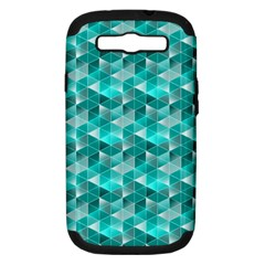 Aquamarine Geometric Triangles Pattern Samsung Galaxy S III Hardshell Case (PC+Silicone)