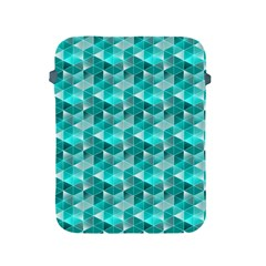 Aquamarine Geometric Triangles Pattern Apple iPad 2/3/4 Protective Soft Cases