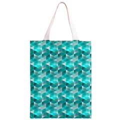 Aquamarine Geometric Triangles Pattern Classic Light Tote Bag