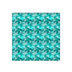Aquamarine Geometric Triangles Pattern Satin Bandana Scarf