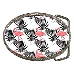 Flamingos Palmetto Fronds Tropical Pattern Belt Buckles