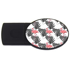 Flamingos Palmetto Fronds Tropical Pattern USB Flash Drive Oval (2 GB)