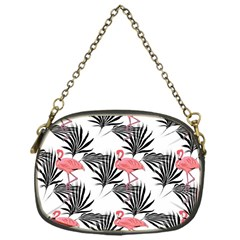 Flamingos Palmetto Fronds Tropical Pattern Chain Purses (One Side)