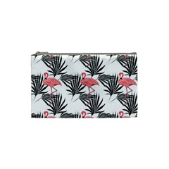 Flamingos Palmetto Fronds Tropical Pattern Cosmetic Bag (Small)