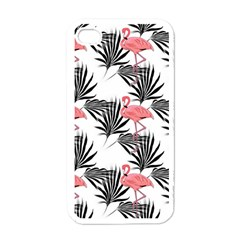Flamingos Palmetto Fronds Tropical Pattern Apple iPhone 4 Case (White)