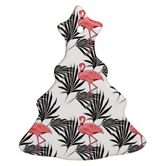 Flamingos Palmetto Fronds Tropical Pattern Christmas Tree Ornament (2 Sides)