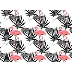 Flamingos Palmetto Fronds Tropical Pattern Birthday Cake 3D Greeting Card (7x5)