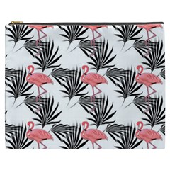 Flamingos Palmetto Fronds Tropical Pattern Cosmetic Bag (XXXL)