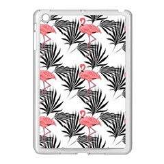 Flamingos Palmetto Fronds Tropical Pattern Apple iPad Mini Case (White)