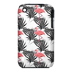 Flamingos Palmetto Fronds Tropical Pattern Apple iPhone 3G/3GS Hardshell Case (PC+Silicone)