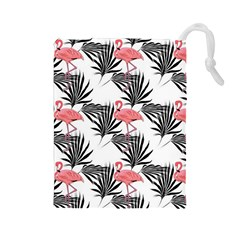 Flamingos Palmetto Fronds Tropical Pattern Drawstring Pouches (Large)