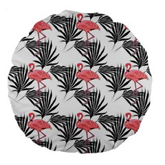 Flamingos Palmetto Fronds Tropical Pattern Large 18  Premium Flano Round Cushions