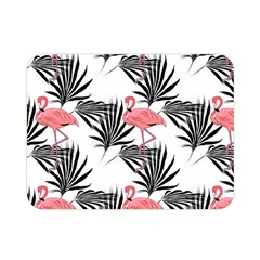Flamingos Palmetto Fronds Tropical Pattern Double Sided Flano Blanket (Mini)