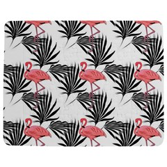 Flamingos Palmetto Fronds Tropical Pattern Jigsaw Puzzle Photo Stand (rectangular)