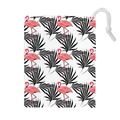 Flamingos Palmetto Fronds Tropical Pattern Drawstring Pouches (Extra Large)