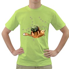 Lovely Cat Playing A Ball Of Wool Green T-Shirt