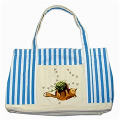 Lovely Cat Playing A Ball Of Wool Striped Blue Tote Bag