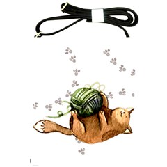 Lovely Cat Playing A Ball Of Wool Shoulder Sling Bags