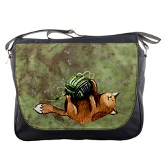 Lovely Cat Playing A Ball Of Wool Messenger Bags