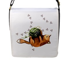 Lovely Cat Playing A Ball Of Wool Flap Messenger Bag (L)