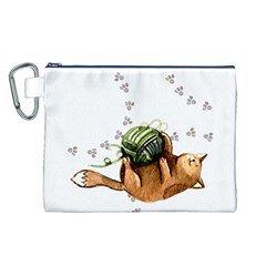 Lovely Cat Playing A Ball Of Wool Canvas Cosmetic Bag (L)