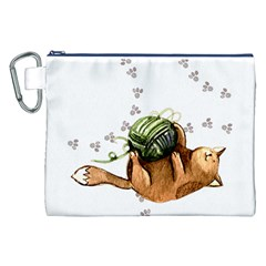 Lovely Cat Playing A Ball Of Wool Canvas Cosmetic Bag (XXL)
