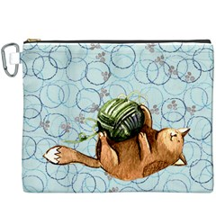 Lovely Cat Playing A Ball Of Wool Canvas Cosmetic Bag (XXXL)