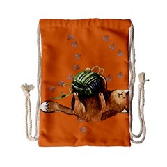 Lovely Cat Playing A Ball Of Wool Drawstring Bag (Small)
