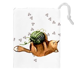 Lovely Cat Playing A Ball Of Wool Drawstring Pouches (XXL)