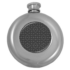 Black and White Ethnic Sharp Geometric  Round Hip Flask (5 oz)