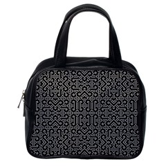 Black and White Ethnic Sharp Geometric  Classic Handbags (One Side)