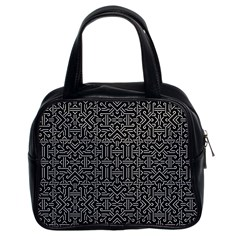Black and White Ethnic Sharp Geometric  Classic Handbags (2 Sides)
