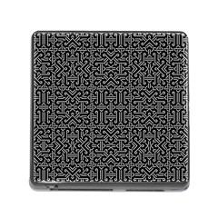 Black and White Ethnic Sharp Geometric  Memory Card Reader (Square)
