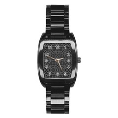 Black and White Ethnic Sharp Geometric  Stainless Steel Barrel Watch