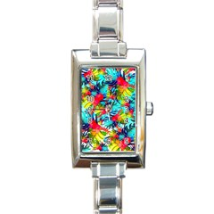 Watercolor Tropical Leaves Pattern Rectangle Italian Charm Watch
